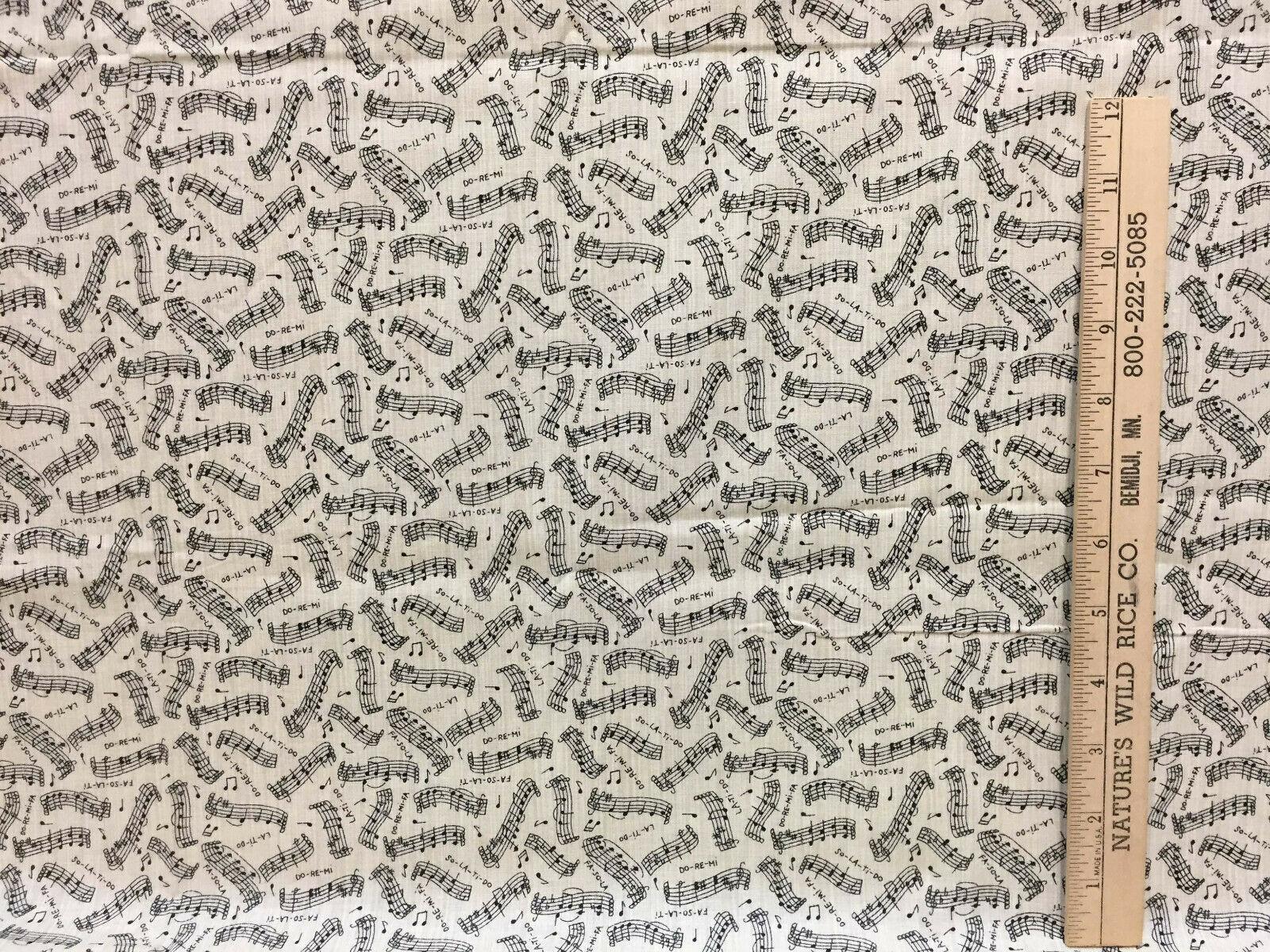 "Do Ri Mi Music Fabric Staffs Notes La Ti Do Screen Print Black & Tan 38"" Long"