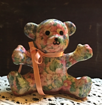 Vtg Pegmin Porcelain Patchworks Teddy Bear Collectible Figurine Victorian Bear - $10.25