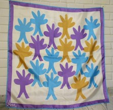 "Vintage Vera Purple Turquoise Yellow Stylized Trees Square Scarf 23""x23"" - $16.67"