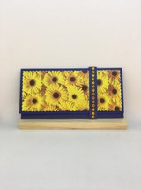 Sunflower money gift envelope with amber rhinestones simply beautiful gr... - $8.50