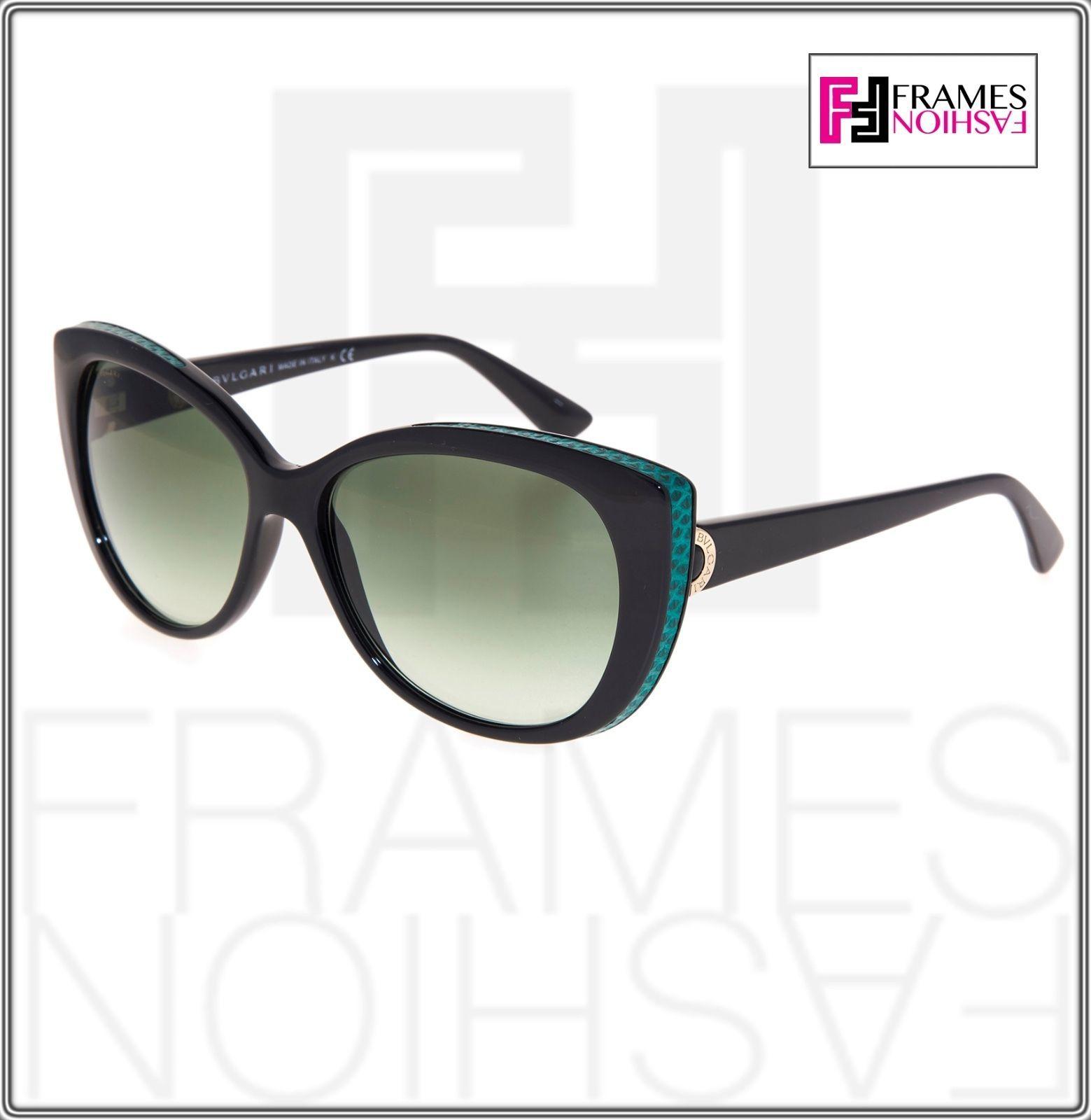 BVLGARI LOGO BV8169Q Black Green Leather Gradient Cat Eye Sunglasses Gold 8169 image 7