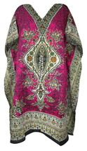 Decorative Floral Short Kaftan~Bohemian Beach Top~Free Size Hippie Caftan Dress - $8.59