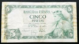 1954 SPAIN 5 PESETAS BANK NOTE - $9.44