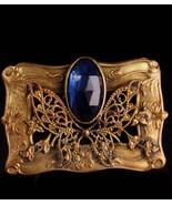 Antique Victorian butterfly brooch - Blue edwardian sash pin - anniversa... - $175.00