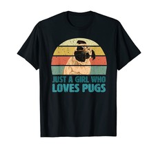 Just A Girl Who Loves Pugs Dogs Retro Style T-Shirt - $15.99