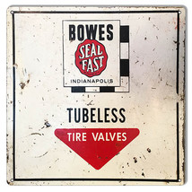 Aged Bowes Tubeless Tire Valves Gas Station Reproduction Sign 12x12 - $25.74