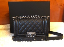 NEW CHANEL SMALL LE BOY BLACK CAVIAR RUTHENIUM BAG PURSE - $3,490.00