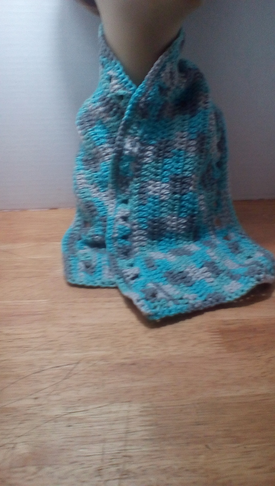 Blue, green, white and gray with white headband winter hat.  With matching scarf image 7