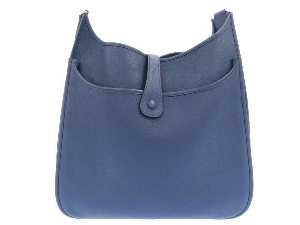 HERMES Evelyne 2 TGM Taurillon Clemence Blue Brighton Shoulder Bag #K Authentic image 3