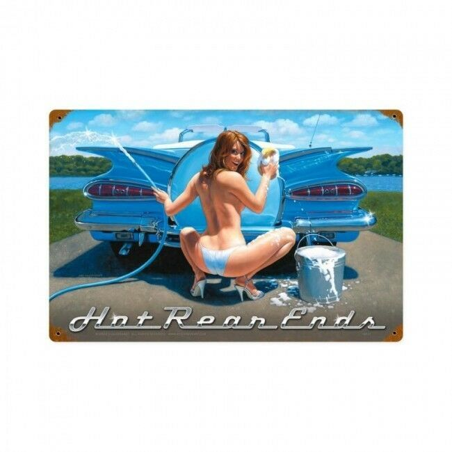 Hot Rear Ends Blue Sky Greg Hildebrandt Metal Sign
