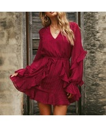 New burgundy V neck long sleeve ruffle tie waist short women dress sprin... - $42.00