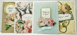 Handmade Greeting Cards (4) Pretty Die Cut Flowers Ribbon Butterfly Embo... - $11.95