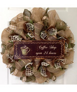 Kitchen Wreath Coffee Shop Open 24 Hours Handmade Deco Mesh - $89.99