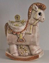 "Vintage Treasure Craft Rocking Horse Cookie Jar Brown Yellow 13"" High - $50.00"
