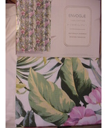 Envogue Printed Paradise Green Pink White Cotton Shower Curtain - $37.00