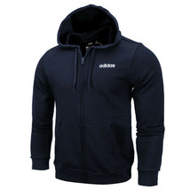 adidas Essential Linear Full Zip Hoodie Training Long Sleeve Logo Navy DU0405 - $65.99