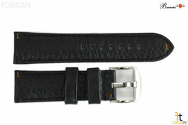 Bandenba 24mm Genuine Black Textured Leather Panerai Stitched Watch Band Strap - $32.13