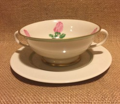Franciscan Cherokee Rose Cream Soup Bowl & Plate Wide Green Band Excellent - $12.99