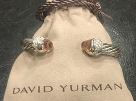 David Yurman Sterling Silver Diamond Morganite 7mm Cable Classic Bracelet - $549.99