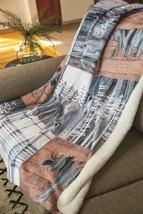 Moose Bear SALLF Fluidity Lodge Sherpa Fleece Throw Blanket 50 X 60 USA - $53.46