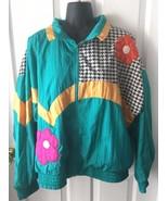 Vintage 1980s Towne London Fog Green  Houndstooth Windbreaker Track Jack... - $79.99
