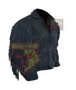 1058 MEN'S COWBOY STYLE TASSELED FRINGED BLACK MOTORCYCLE SUEDE LEATHER ... - $198.99