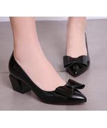 87H110 sweet bow pump w board heel, genuine leather, size 4-8.5, black - $62.80