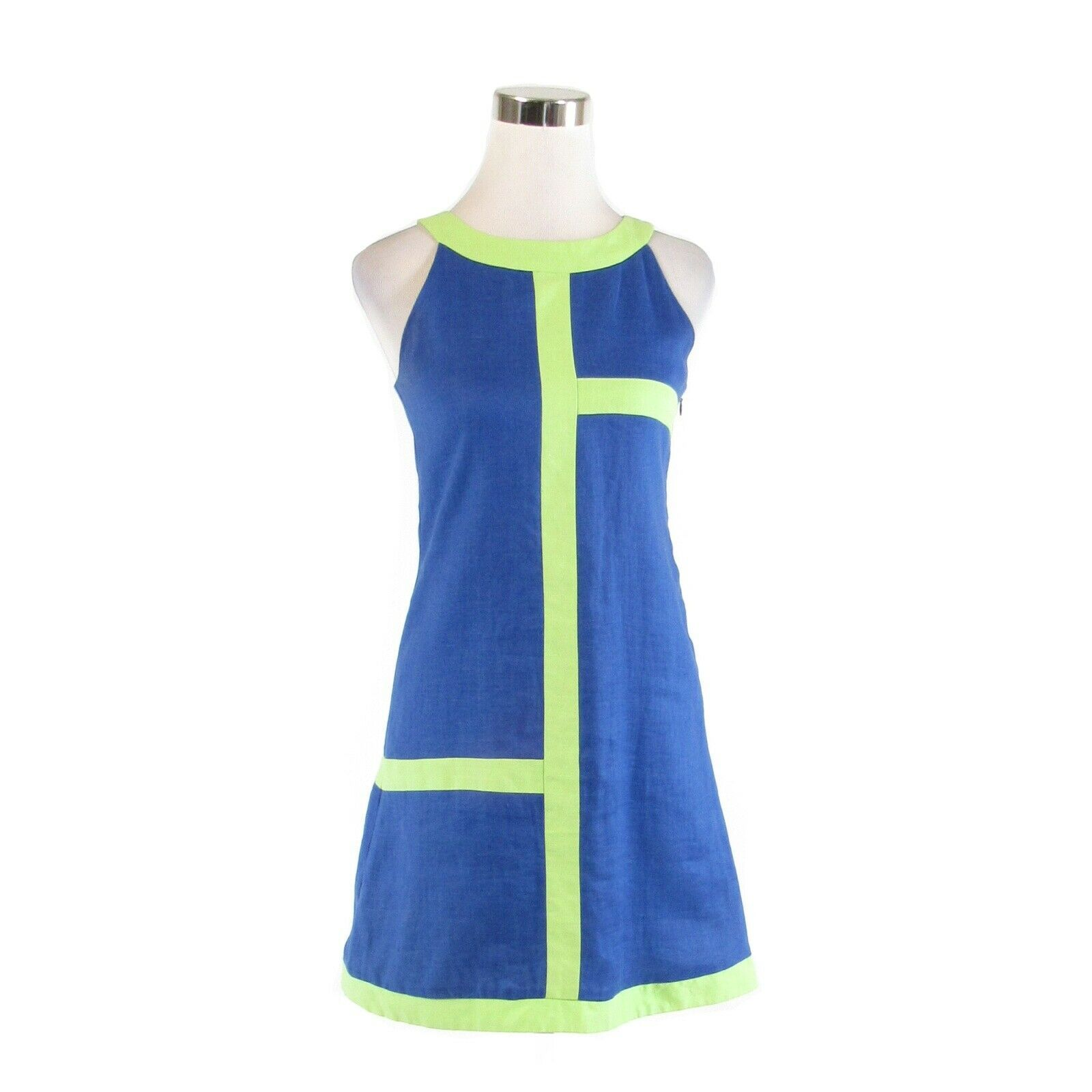 Primary image for Blue green color block linen FLORENCE EISEMAN sleeveless vintage dress 16 S
