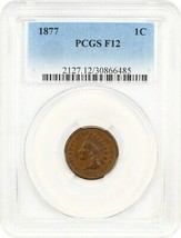 1877 1c PCGS F12 - Elusive Key Date Indian Cent - Indian Cent - $1,018.50