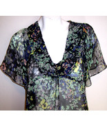 H&M Top 8 Silky Sheer Floral Hippy Boho Flutter Sleeve Shirt Blouse Wome... - $6.99