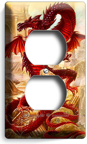 RED ASIAN CHINESE DRAGON GREEK ROMAN RUINS OUTLET WALL PLATES BEDROOM ROOM DECOR