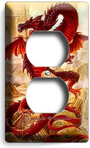 RED ASIAN CHINESE DRAGON GREEK ROMAN RUINS OUTLET WALL PLATES BEDROOM RO... - $9.99