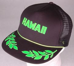 Vtg HAWAII Hat-Puff Letters-Black/Green-Mesh-Foam Front-Snap-Rope Bill-L... - $37.39