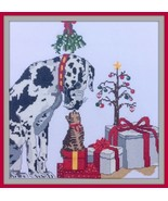 Under The Mistletoe christmas dog cross stitch chart by Ladybug Designs  - $11.25