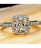 2.45Ct White Cushion Cut Diamond Halo Engagement Ring Solid 14K White Go... - $79.37