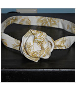 Ivory Gold Headband, Gold Metallic Headband, Ivory Fabric Headband, Wire... - $10.00