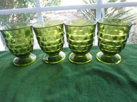 Glasses 4 Stemmed Glass Drinkware Avocado Olive Green Diamond Whitehall Colony - $34.00