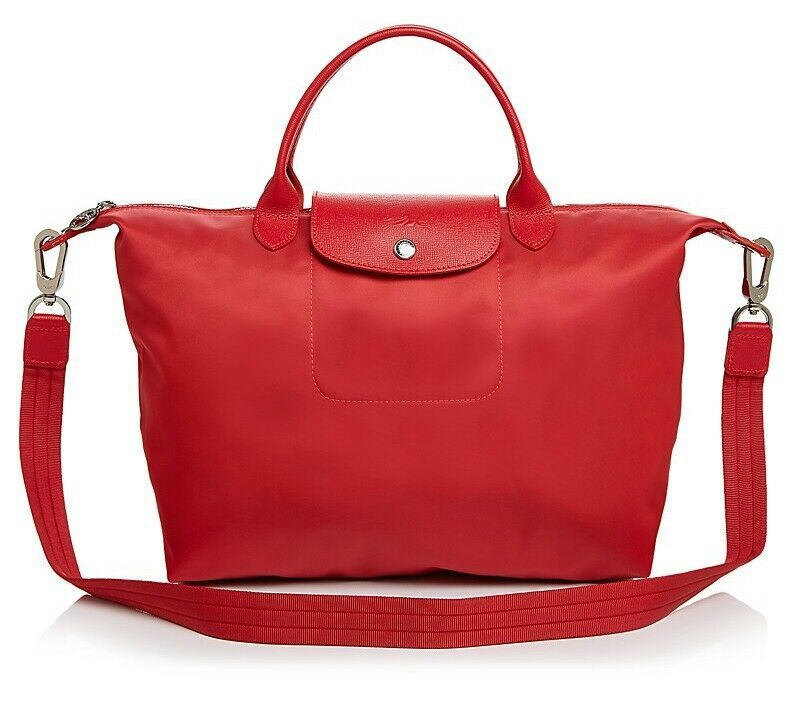 Primary image for NWT Longchamp Le Pliage Neo Medium Travel Crossbody Satchel Bag POPPY RED $245+
