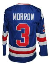 Custom Name # Team USA Retro Hockey Jersey New Sewn Blue Morrow #3 Any Size image 2