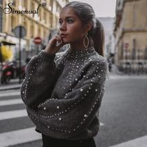 Simenual Autumn winter 2018 women sweaters and pullovers bead lantern sl... - $42.99