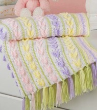 Z541 Crochet PATTERN ONLY Unique Tiny Tulips Baby Blanket Afghan Pattern - $7.50