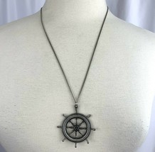 Pewter Nautical Steer Pendant Necklace Signed Surfset Ship Boat Steering... - $15.80