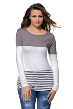 Taupe White Color Block Striped Long Sleeve Blouse Top - $16.96