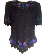 80s Laurence Kazar 100% Silk Black Beaded Lavender Blue Red Floral Scall... - $39.00