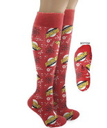 Big Bang Theory Bazinga and Atom Pattern Red Knee High Derby Socks, NEW ... - $11.60