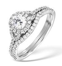 White CZ Round Cut 10k White Gold Fn 925 Fashion  Engagement & Wedding Ring Set - $65.99