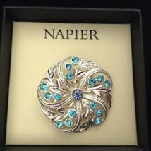 Napier Brooch Pin Rhinestones Blue Turquoise Silvertone NEW - $16.78