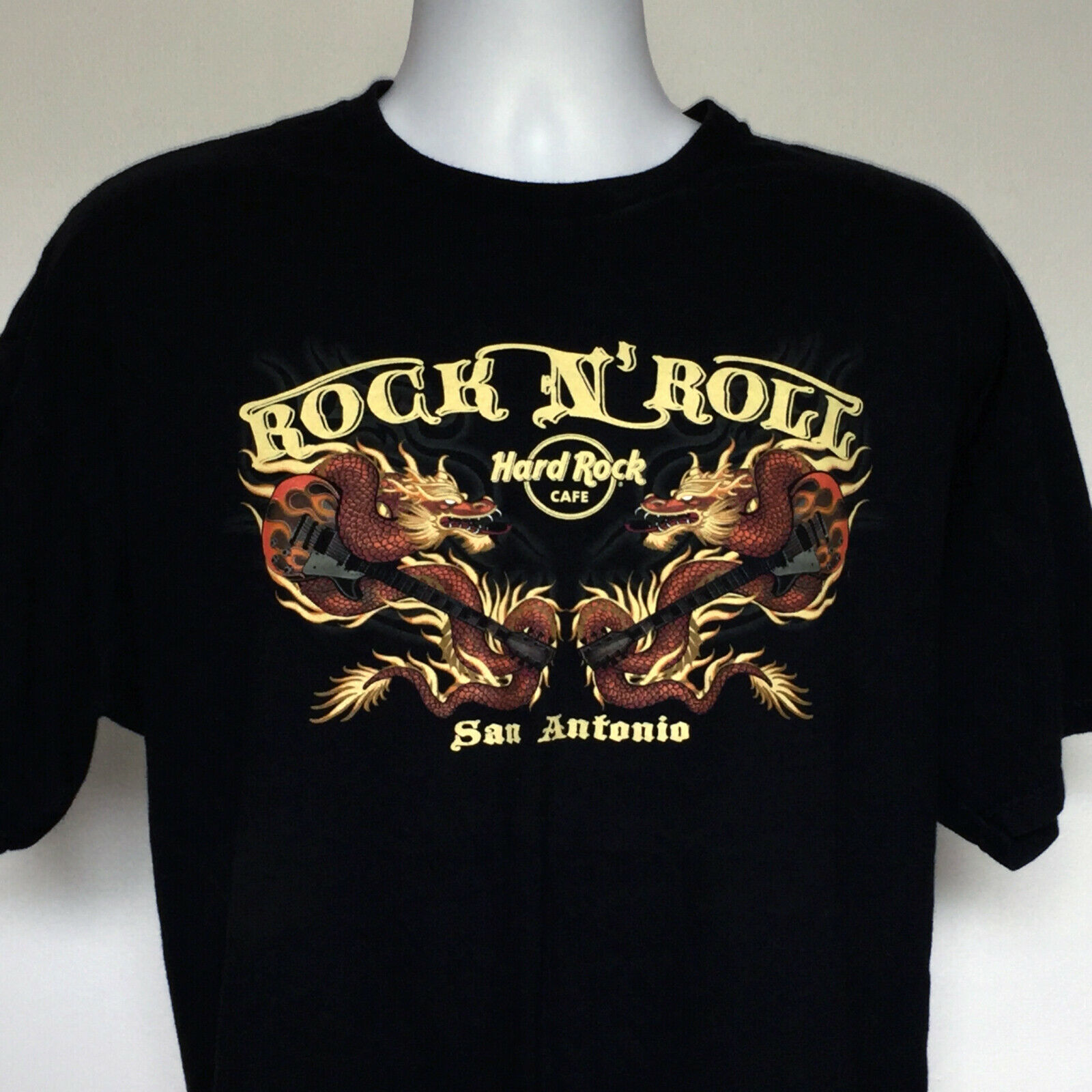 Primary image for Mens Hard Rock Cafe San Antonio t shirt XL Chinese Dragon guitar Rock n Roll