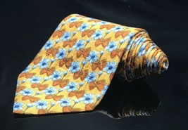 NEW WT ERMENEGILDO ZEGNA TIE 100% SILK MADE IN ITALY Gold Blue FLORAL - $73.59