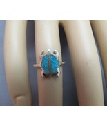 VTG Sterling Silver Turtle Ring Southwest Style Turquoise Stone Size 5 E... - $17.81